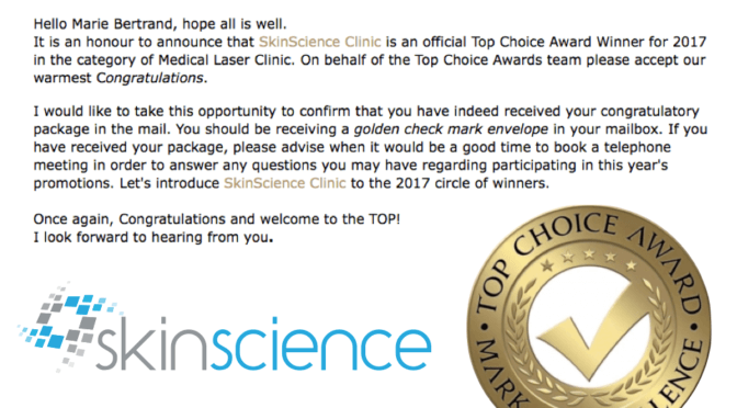 "SkinScience Wins ""Best Medical Laser Clinic"" in Calgary!"